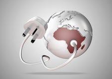 Il punto del cavo e della spina di energia elettrica si collega in Africa brillantemente colorata su un globo del mondo Immagine Stock
