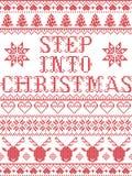 Il punto del modello di Natale nel modello senza cuciture della canzone di Natale ha ispirato entro l'inverno festivo della cultu illustrazione di stock