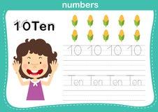 Il punto di collegamento ed i numeri stampabili si esercitano per i bambini di asilo e della scuola materna royalty illustrazione gratis