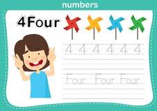 Il punto di collegamento ed i numeri stampabili si esercitano per i bambini di asilo e della scuola materna illustrazione vettoriale