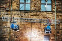 Il punto di film si accende in Palazzo Vecchio a Firenze Immagine Stock Libera da Diritti