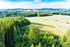 Il punto di vista di paese rurale ceco da sopra Fotografia Stock