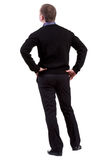 Il punto di vista posteriore dell'uomo di affari guarda avanti Fotografia Stock