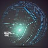 Il punto e la curva hanno costruito il wireframe della sfera, illustrazione tecnologica dell'estratto di senso illustrazione di stock