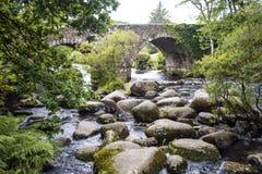 Il punto famoso di picnic di Dartmeet, su Dartmoor, Devon, Inghilterra fotografia stock