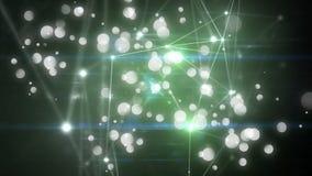 Il punto leggero collegato con luce verde che si muove dal tehere punto a punto di attimo è animazione della bolla royalty illustrazione gratis