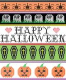 Il punto trasversale scandinavo e la festa americana tradizionale hanno ispirato il modello felice senza cuciture di Halloween co illustrazione di stock