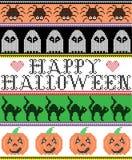 Il punto trasversale scandinavo ed il modello felice senza cuciture di Halloween ispirato festa americana tradizionale con il gat illustrazione vettoriale