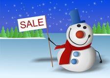 Il pupazzo di neve è vendita contrassegnata Fotografia Stock