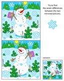 Il pupazzo di neve allegro trova le differenze fra il puzzle rispecchiato delle immagini illustrazione vettoriale