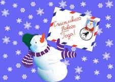 Il pupazzo di neve, buon anno di desideri (lingua russa) Fotografie Stock