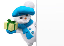 Il pupazzo di neve con il regalo del nuovo anno a disposizione e l'insegna 3d rendono Fotografia Stock Libera da Diritti