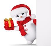Il pupazzo di neve con il regalo del nuovo anno a disposizione ed il manifesto 3d rendono Immagine Stock Libera da Diritti