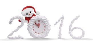 Il pupazzo di neve con l'orologio e 2016 hanno isolato la rappresentazione 3d Immagini Stock Libere da Diritti