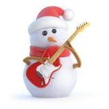 il pupazzo di neve 3d gioca la chitarra elettrica Immagini Stock Libere da Diritti
