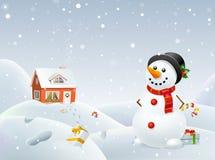 Il pupazzo di neve di Natale aiuta Santa Fotografie Stock Libere da Diritti