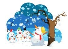 Il pupazzo di neve di natale canta una canzone Immagine Stock Libera da Diritti