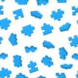 Il puzzle blu collega nelle posizioni differenti sul modello senza cuciture bianco Fotografia Stock Libera da Diritti