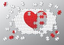 Il puzzle collega il cuore rotto Fotografia Stock Libera da Diritti