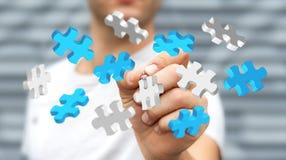 Il puzzle commovente di volo dell'uomo d'affari collega il rendering' di '3D Immagini Stock