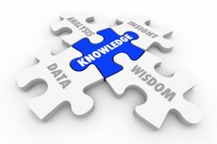 Il puzzle di conoscenza collega la saggezza di comprensione di analisi dei dati Fotografia Stock