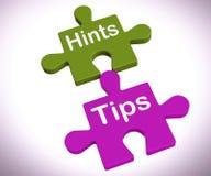 Il puzzle di punte di suggerimenti mostra i suggerimenti e l'assistenza Fotografie Stock Libere da Diritti