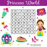 Il puzzle di ricerca di parola scherza l'attività Gioco educativo dei bambini per le ragazze Apprendimento del vocabolario Mondo  illustrazione vettoriale