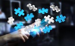 Il puzzle di volo della tenuta dell'uomo d'affari collega la rappresentazione 3D Immagine Stock