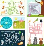 Il puzzle divertente di mistero di ricerca del gioco di logica del rebus di forma di enigma del labirinto del labirinto per i bam illustrazione vettoriale