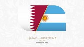 Il Qatar contro l'Argentina, gruppo B della concorrenza di calcio illustrazione di stock