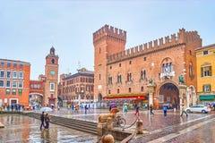 Il quadrato centrale a Ferrara, Italia immagine stock libera da diritti