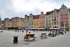 Il quadrato centrale a Wroclaw Fotografia Stock