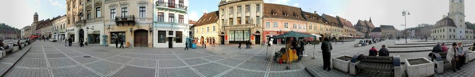 Il quadrato del Consiglio, Brasov, 360 gradi di panorama Fotografia Stock