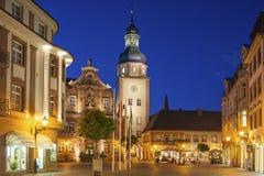 Il quadrato del mercato con il municipio ed il municipio si elevano, Ettlingen, GER Fotografie Stock Libere da Diritti