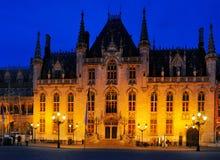 Tribunale provinciale, quadrato del mercato, Bruges Fotografia Stock