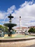 Il quadrato di Rossio è il nome popolare del quadrato di Pedro IV nella città di Lisbona, nel Portogallo Immagine Stock Libera da Diritti