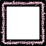 Il quadrato ha arrotondato le etichette al neon rosa dei graffiti del frame sul nero Fotografie Stock