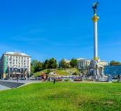 Il quadrato moderno di indipendenza a Kiev Fotografie Stock Libere da Diritti