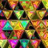 Il quadrato multicolore del triangolo di pendenza piastrella il vetro macchiato geometrico di effetto del modello fotografia stock libera da diritti