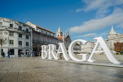 Il quadrato principale della città di Braga fotografie stock
