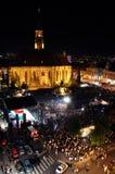 Il quadrato principale di Cluj ha ammucchiato durante l'opera rock in tensione Immagine Stock