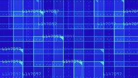 il quadrato virtuale di numero 4k, tecnologia di scienza allinea il fondo di esame di griglia della matrice archivi video
