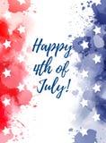 Il quarto felice dell'acquerello di luglio spruzza il fondo Fotografia Stock Libera da Diritti