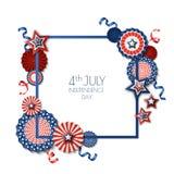 il quarto luglio, festa dell'indipendenza di U.S.A. Struttura quadrata di vettore isolata su fondo bianco Stelle di carta nei col Fotografia Stock Libera da Diritti