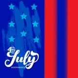 il quarto luglio Fondo di calligrafia di celebrazione di festa dell'indipendenza di U.S.A. Fotografie Stock Libere da Diritti