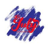 il quarto luglio Fondo di calligrafia di celebrazione di festa dell'indipendenza di U.S.A. Fotografie Stock