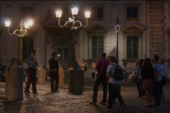 Il Quirinale di notte. Group of people on the Piazza del Quirinale Royalty Free Stock Photos
