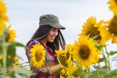 Il raccolto d'esame della giovane bella ragazza dell'agricoltore dei girasoli nel campo Fotografia Stock Libera da Diritti