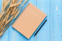 Il raccolto del grano e spazio in bianco secchi del libro per testo o progettazione sul wo blu Fotografia Stock Libera da Diritti
