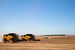 Il raccolto della soia che è raccolto dalle associazioni immagine stock